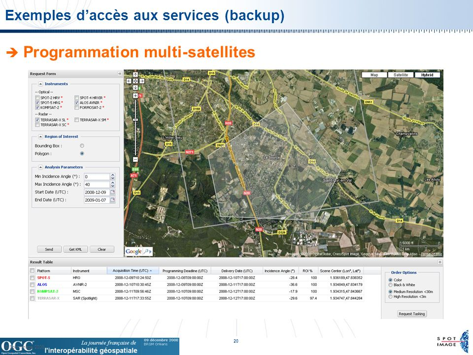 © Spot Image 2008 20 Exemples daccès aux services (backup) Programmation multi-satellites