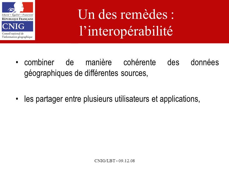 CNIG/LBT - 09.12.08 Un des remèdes : linteropérabilité combiner de manière cohérente des données géographiques de différentes sources, les partager entre plusieurs utilisateurs et applications,