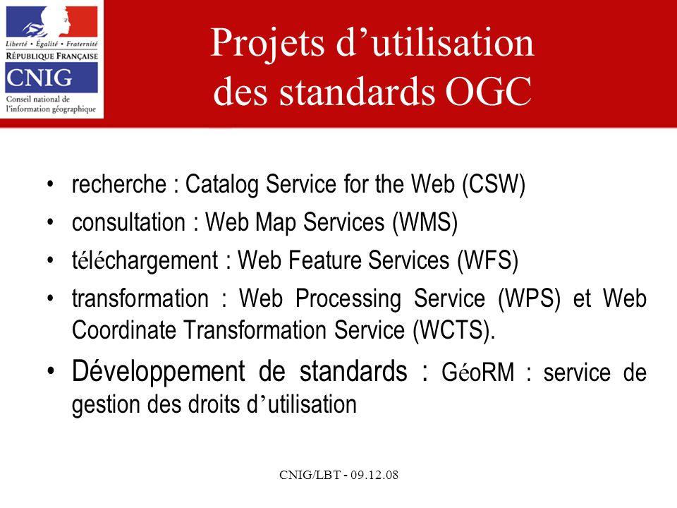 CNIG/LBT - 09.12.08 Projets dutilisation des standards OGC recherche : Catalog Service for the Web (CSW) consultation : Web Map Services (WMS) t é l é chargement : Web Feature Services (WFS) transformation : Web Processing Service (WPS) et Web Coordinate Transformation Service (WCTS).
