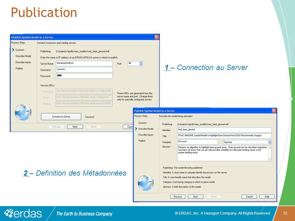 © ERDAS, Inc. A Hexagon Company. All Rights Reserved12 Publication 1 – Connection au Server 2 – Definition des Métadonnées
