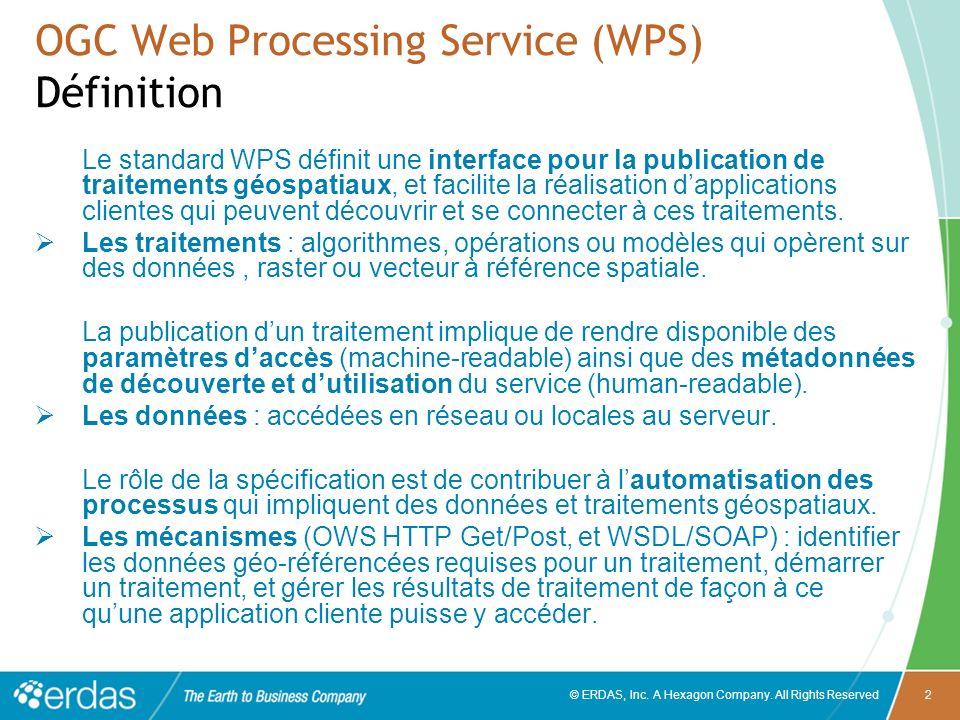 © ERDAS, Inc. A Hexagon Company. All Rights Reserved2 OGC Web Processing Service (WPS) Définition Le standard WPS définit une interface pour la public