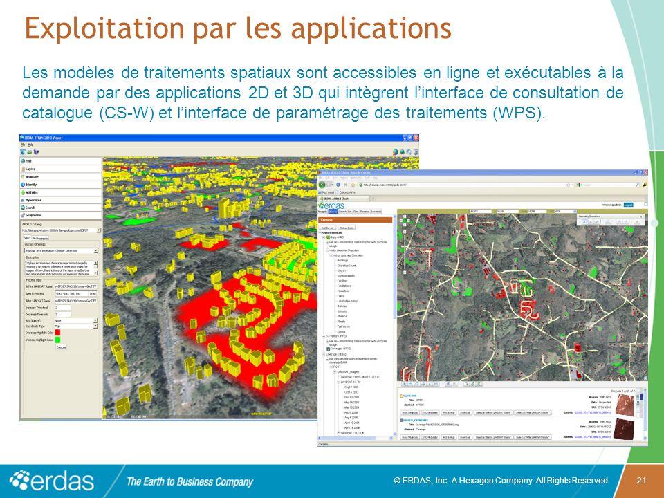 © ERDAS, Inc. A Hexagon Company. All Rights Reserved21 Exploitation par les applications Les modèles de traitements spatiaux sont accessibles en ligne