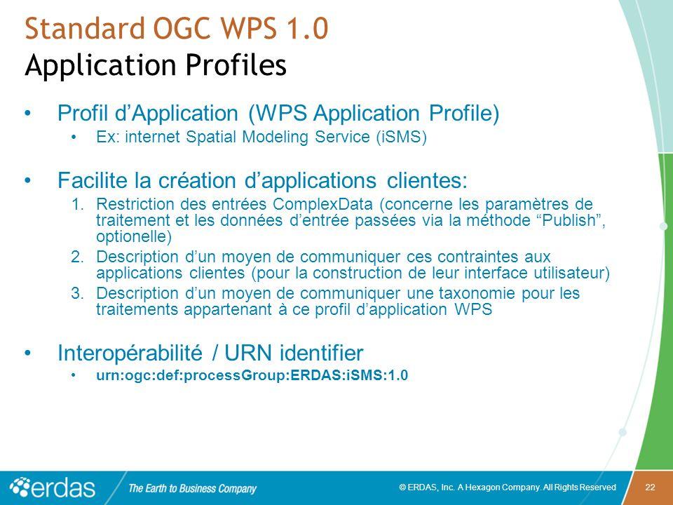 © ERDAS, Inc. A Hexagon Company. All Rights Reserved22 Standard OGC WPS 1.0 Application Profiles Profil dApplication (WPS Application Profile) Ex: int