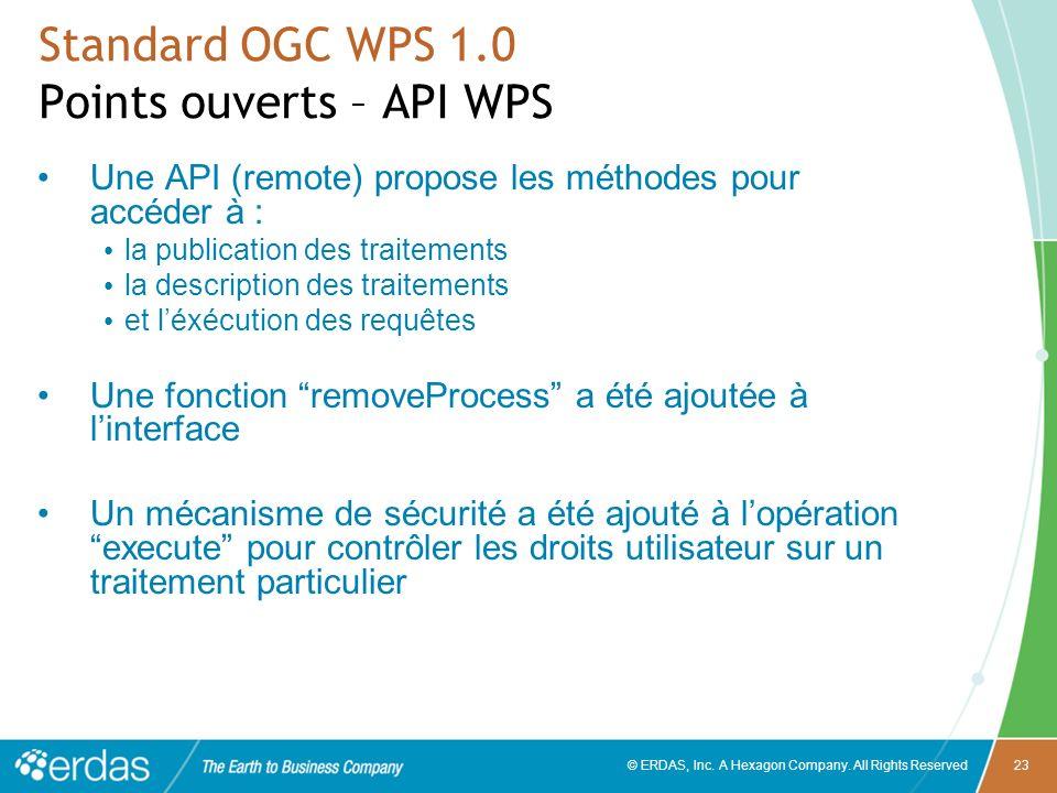 © ERDAS, Inc. A Hexagon Company. All Rights Reserved23 Standard OGC WPS 1.0 Points ouverts – API WPS Une API (remote) propose les méthodes pour accéde
