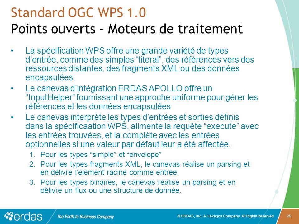 © ERDAS, Inc. A Hexagon Company. All Rights Reserved25 Standard OGC WPS 1.0 Points ouverts – Moteurs de traitement La spécification WPS offre une gran