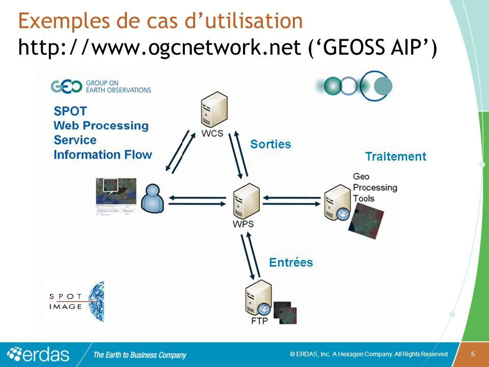 © ERDAS, Inc. A Hexagon Company. All Rights Reserved5 Exemples de cas dutilisation http://www.ogcnetwork.net (GEOSS AIP) Entrées Sorties Traitement