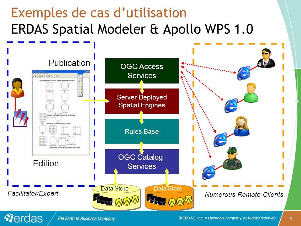 © ERDAS, Inc. A Hexagon Company. All Rights Reserved6 Exemples de cas dutilisation ERDAS Spatial Modeler & Apollo WPS 1.0 + + + + + + + + Data Store +