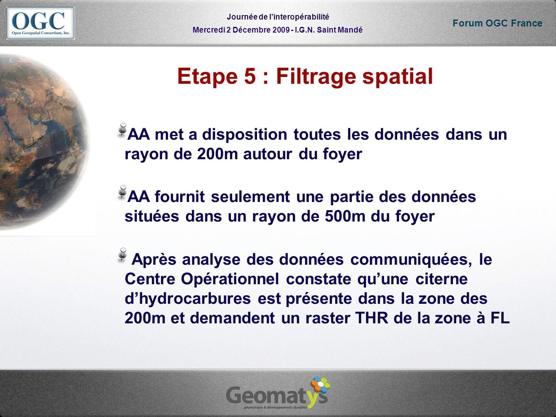 Mercredi 2 Décembre 2009 - I.G.N. Saint Mandé Journée de linteropérabilité Forum OGC France Etape 5 : Filtrage spatial AA met a disposition toutes les