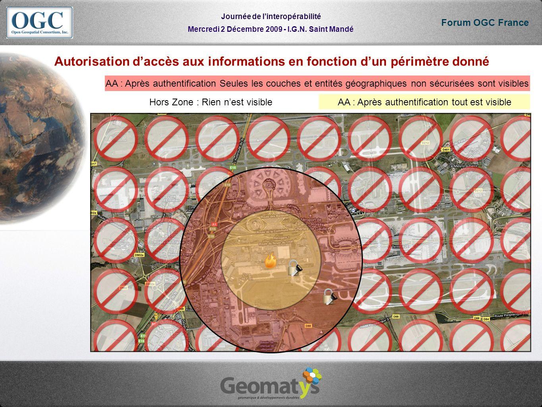 Mercredi 2 Décembre 2009 - I.G.N. Saint Mandé Journée de linteropérabilité Forum OGC France Hors Zone : Rien nest visible AA : Après authentification