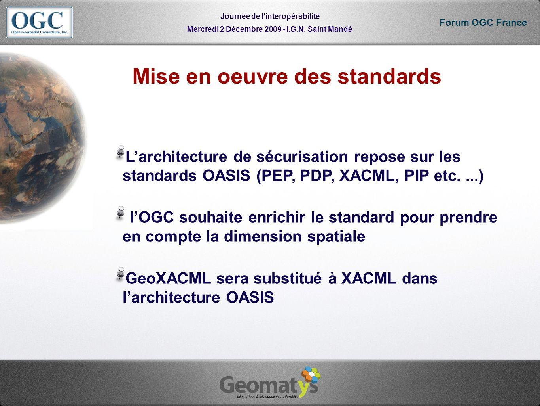Mercredi 2 Décembre 2009 - I.G.N. Saint Mandé Journée de linteropérabilité Forum OGC France Mise en oeuvre des standards Larchitecture de sécurisation