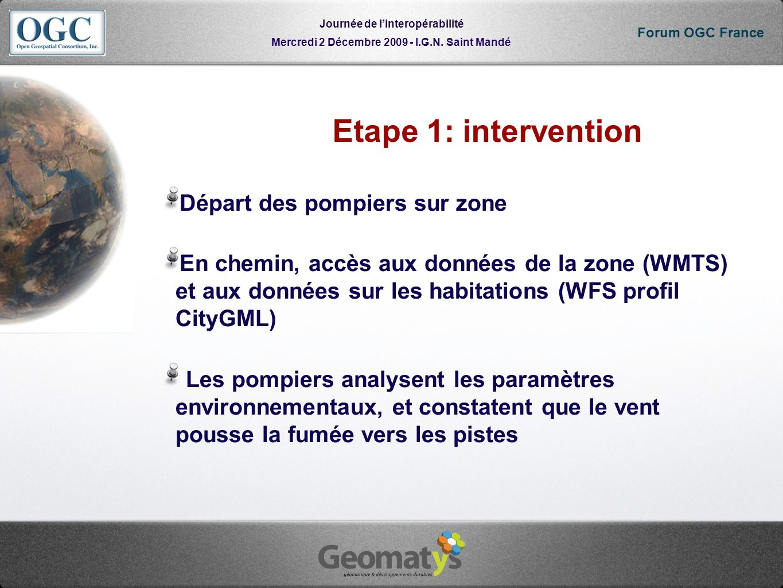 Mercredi 2 Décembre 2009 - I.G.N. Saint Mandé Journée de linteropérabilité Forum OGC France Etape 1: intervention Départ des pompiers sur zone En chem