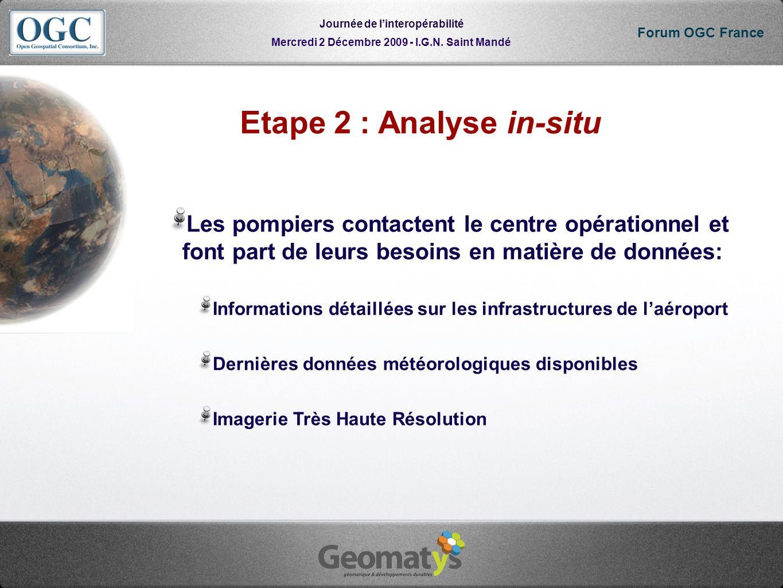 Mercredi 2 Décembre 2009 - I.G.N. Saint Mandé Journée de linteropérabilité Forum OGC France Etape 2 : Analyse in-situ Les pompiers contactent le centr