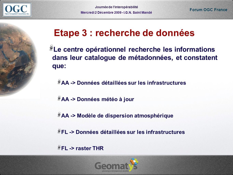 Mercredi 2 Décembre 2009 - I.G.N. Saint Mandé Journée de linteropérabilité Forum OGC France Etape 3 : recherche de données Le centre opérationnel rech