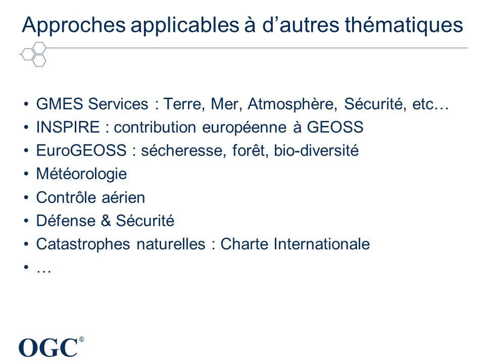 OGC ® Approches applicables à dautres thématiques GMES Services : Terre, Mer, Atmosphère, Sécurité, etc… INSPIRE : contribution européenne à GEOSS Eur