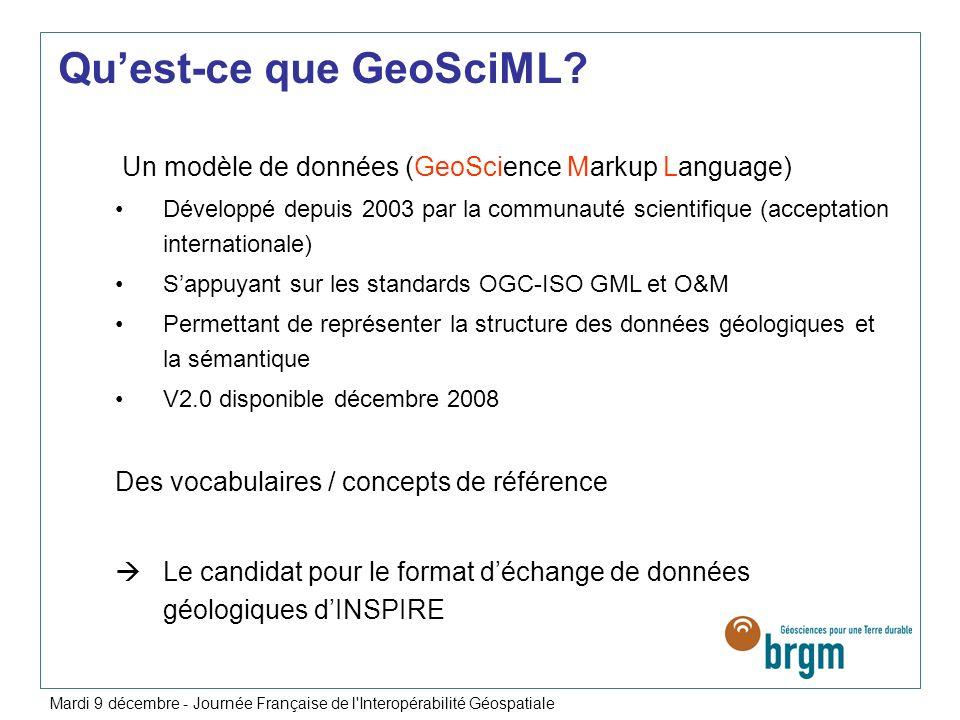 Un modèle de données (GeoScience Markup Language) Développé depuis 2003 par la communauté scientifique (acceptation internationale) Sappuyant sur les