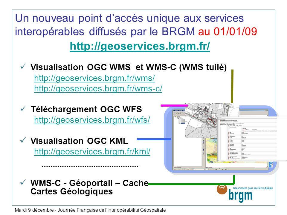 Un nouveau point daccès unique aux services interopérables diffusés par le BRGM au 01/01/09 http://geoservices.brgm.fr/ Visualisation OGC WMS et WMS-C