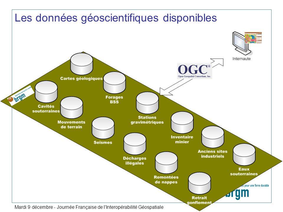 Les données géoscientifiques disponibles Mardi 9 décembre - Journée Française de l'Interopérabilité Géospatiale