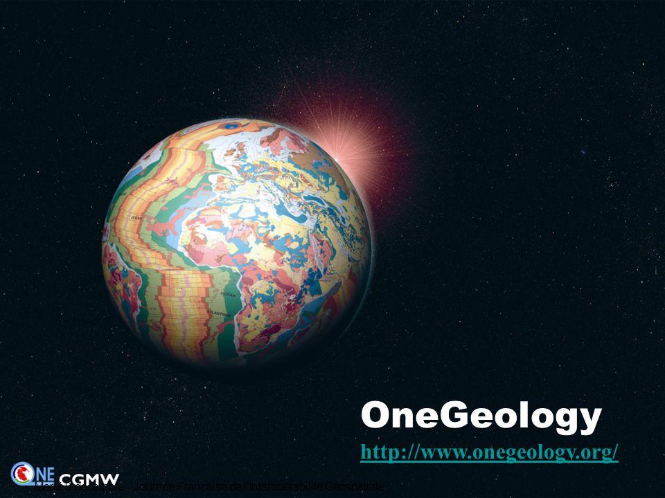 Les objectifs de OneGeology Un partenariat constitué entre les services géologiques de 94 pays pour constituer la carte géologique mondiale à léchelle 1/1 000 000 par assemblage dynamique des cartes nationales 1.rendre accessibles les meilleures données cartographiques géologiques actuellement en leur possession ; 2.contribuer à la définition de normes cohérentes d accès aux données et garantir ainsi linteropérabilité de ces données ; 3.assurer un transfert de savoir-faire à ceux qui en ont besoin Mardi 9 décembre - Journée Française de l Interopérabilité Géospatiale