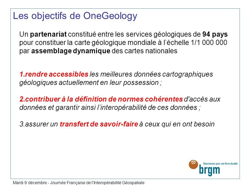 Une initiative originale Projet autofinancé, initié en 2007, BGS (British Geological Survey) animateur du projet BRGM coordonateur technique 94 nations participent à fin 2008 30 pays délivrant des données en ligne Pays participant au projet Mardi 9 décembre - Journée Française de l Interopérabilité Géospatiale