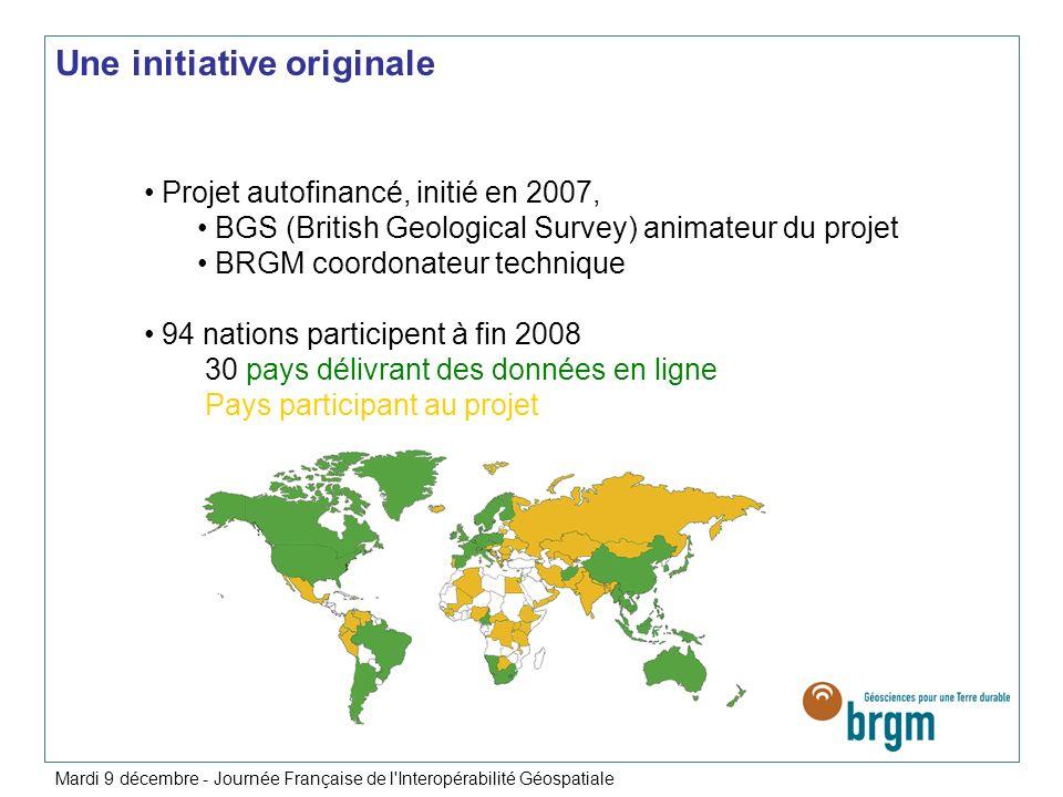 Une initiative originale Projet autofinancé, initié en 2007, BGS (British Geological Survey) animateur du projet BRGM coordonateur technique 94 nation