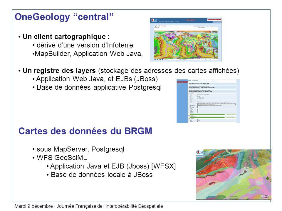Un nouveau point daccès unique aux services interopérables diffusés par le BRGM au 01/01/09 http://geoservices.brgm.fr/ Visualisation OGC WMS et WMS-C (WMS tuilé) http://geoservices.brgm.fr/wms/ http://geoservices.brgm.fr/wms-c/ Téléchargement OGC WFS http://geoservices.brgm.fr/wfs/ Visualisation OGC KML http://geoservices.brgm.fr/kml/ WMS-C - Géoportail – Cache Cartes Géologiques Mardi 9 décembre - Journée Française de l Interopérabilité Géospatiale