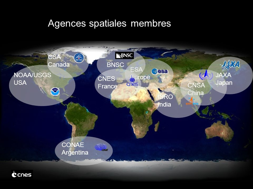 CSA Canada ESA Europe NOAA/USGS USA CONAE Argentina BNSC CNSA China JAXA Japan CNES France ISRO India Agences spatiales membres