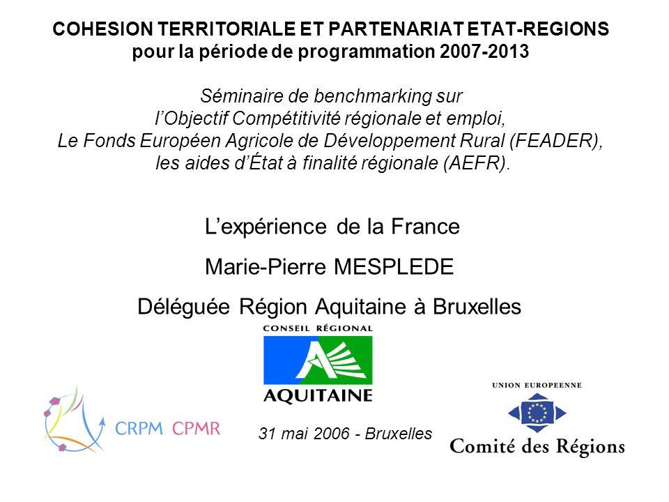 COHESION TERRITORIALE ET PARTENARIAT ETAT-REGIONS pour la période de programmation 2007-2013 Séminaire de benchmarking sur lObjectif Compétitivité régionale et emploi, Le Fonds Européen Agricole de Développement Rural (FEADER), les aides dÉtat à finalité régionale (AEFR).