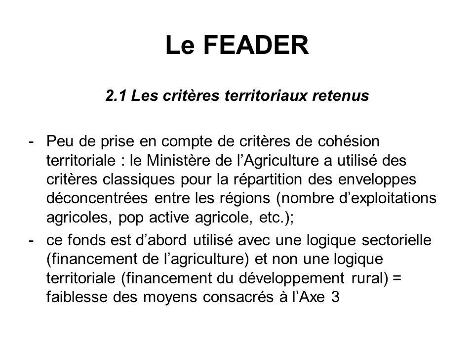 Le FEADER 2.1 Les critères territoriaux retenus -Peu de prise en compte de critères de cohésion territoriale : le Ministère de lAgriculture a utilisé des critères classiques pour la répartition des enveloppes déconcentrées entre les régions (nombre dexploitations agricoles, pop active agricole, etc.); -ce fonds est dabord utilisé avec une logique sectorielle (financement de lagriculture) et non une logique territoriale (financement du développement rural) = faiblesse des moyens consacrés à lAxe 3