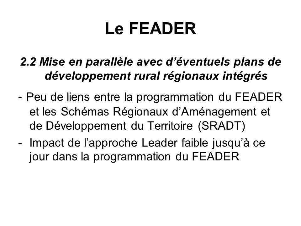 Le FEADER 2.2 Mise en parallèle avec déventuels plans de développement rural régionaux intégrés - Peu de liens entre la programmation du FEADER et les Schémas Régionaux dAménagement et de Développement du Territoire (SRADT) -Impact de lapproche Leader faible jusquà ce jour dans la programmation du FEADER