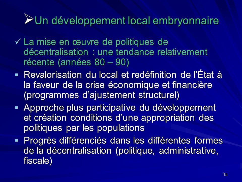 15 Un développement local embryonnaire Un développement local embryonnaire La mise en œuvre de politiques de décentralisation : une tendance relativem