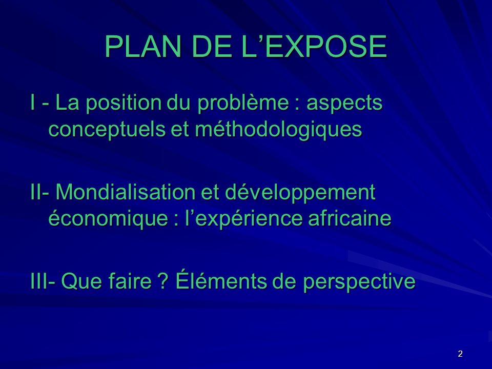 2 PLAN DE LEXPOSE I - La position du problème : aspects conceptuels et méthodologiques II- Mondialisation et développement économique : lexpérience africaine III- Que faire .