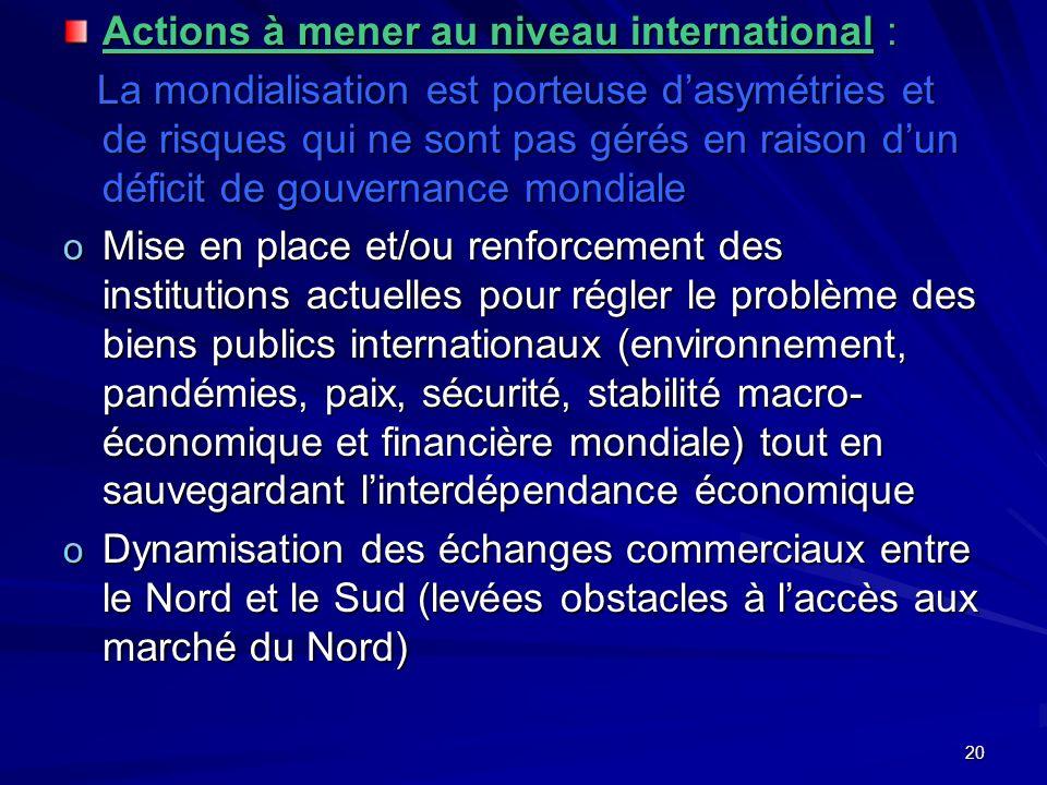 20 Actions à mener au niveau international : La mondialisation est porteuse dasymétries et de risques qui ne sont pas gérés en raison dun déficit de g