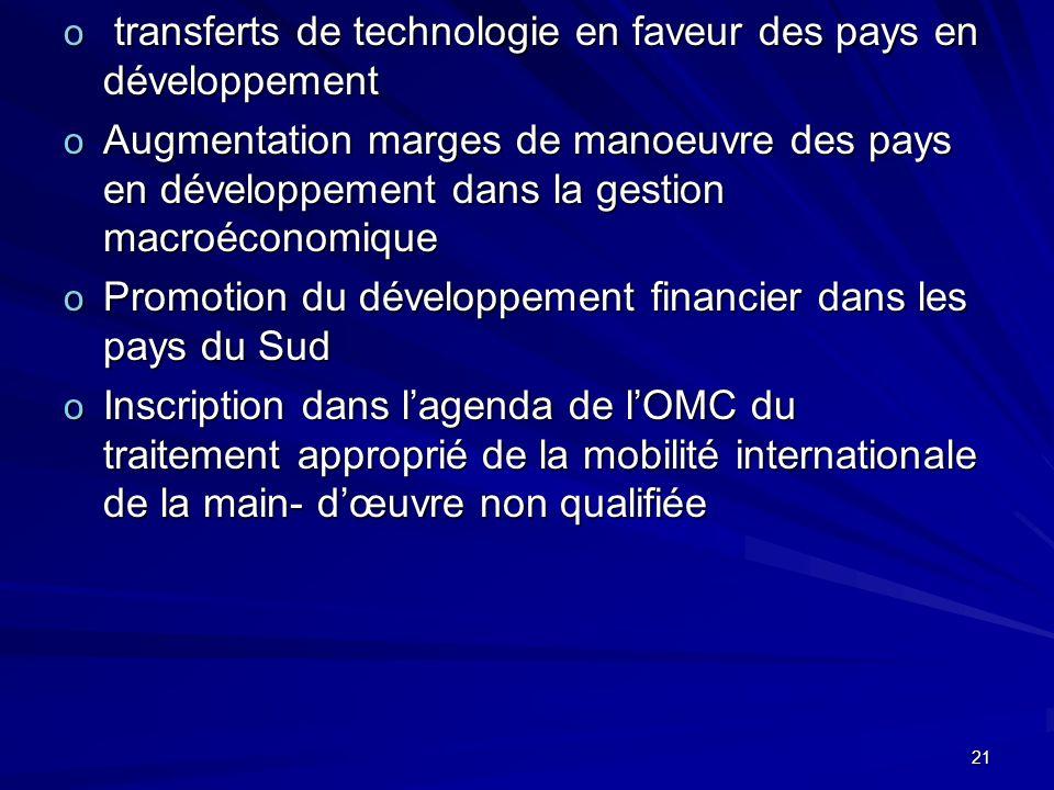 21 o transferts de technologie en faveur des pays en développement o Augmentation marges de manoeuvre des pays en développement dans la gestion macroé