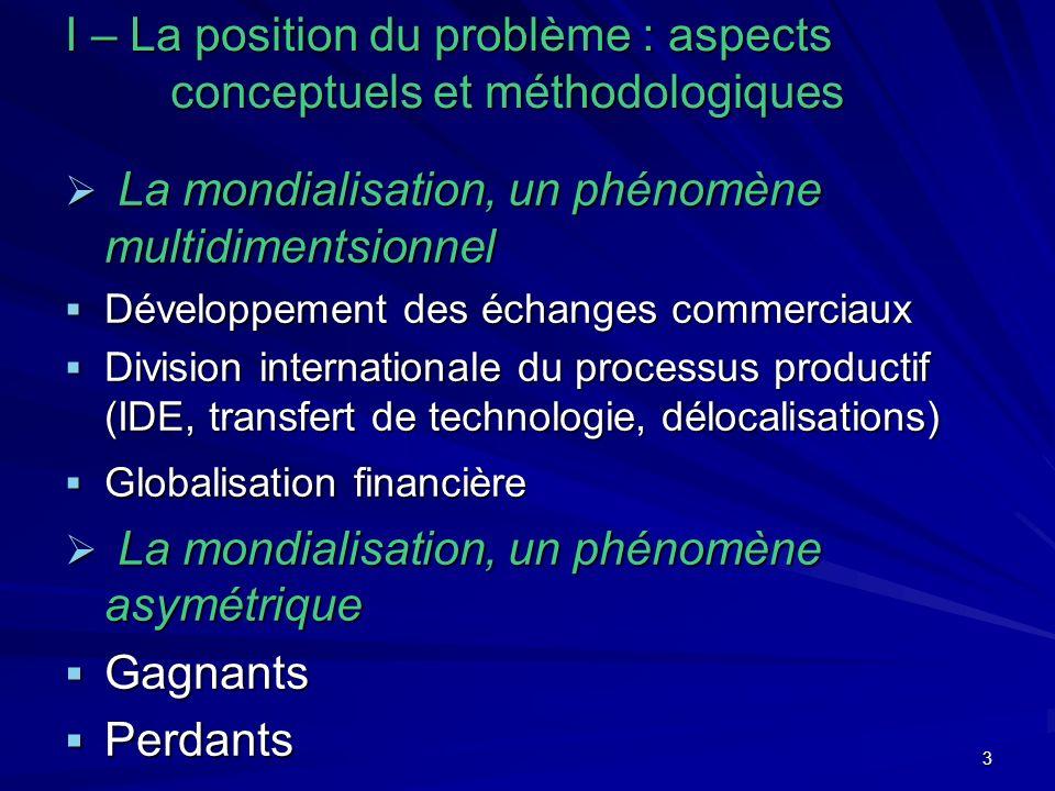 3 I – La position du problème : aspects conceptuels et méthodologiques La mondialisation, un phénomène multidimentsionnel La mondialisation, un phénom
