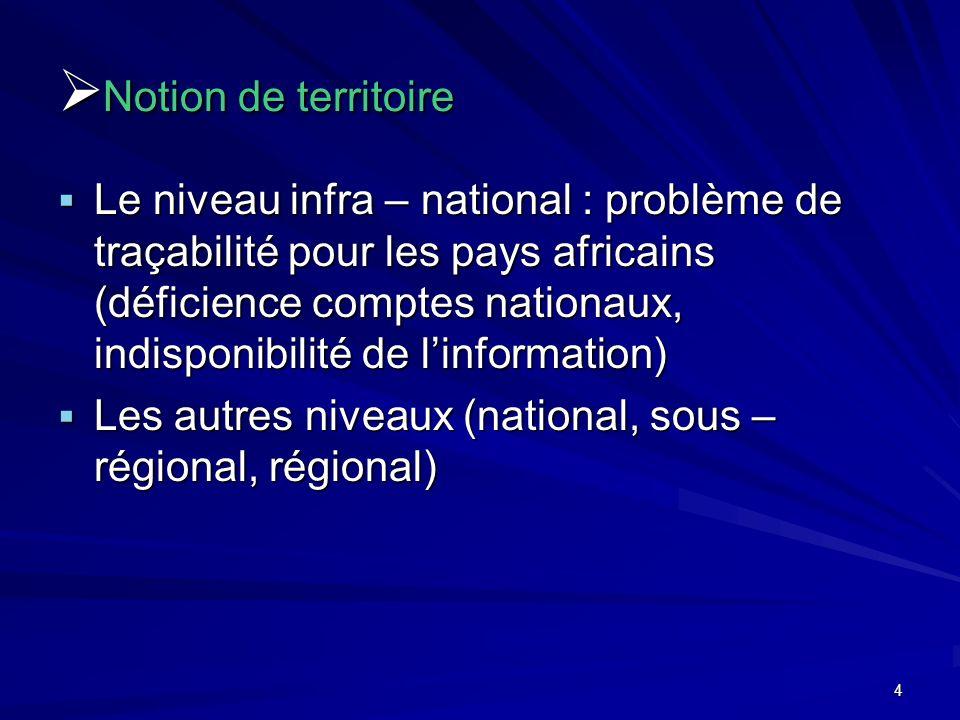 4 Notion de territoire Notion de territoire Le niveau infra – national : problème de traçabilité pour les pays africains (déficience comptes nationaux, indisponibilité de linformation) Le niveau infra – national : problème de traçabilité pour les pays africains (déficience comptes nationaux, indisponibilité de linformation) Les autres niveaux (national, sous – régional, régional) Les autres niveaux (national, sous – régional, régional)