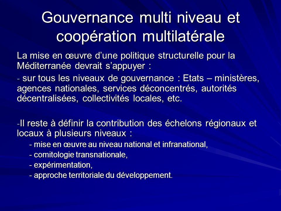 Gouvernance multi niveau et coopération multilatérale La mise en œuvre dune politique structurelle pour la Méditerranée devrait sappuyer : - sur tous les niveaux de gouvernance : Etats – ministères, agences nationales, services déconcentrés, autorités décentralisées, collectivités locales, etc.