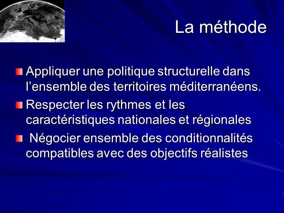 La méthode Appliquer une politique structurelle dans lensemble des territoires méditerranéens.