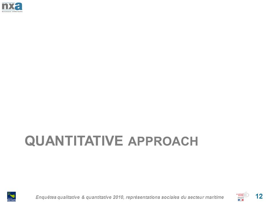 QUANTITATIVE APPROACH Enquêtes qualitative & quantitative 2010, représentations sociales du secteur maritime 12