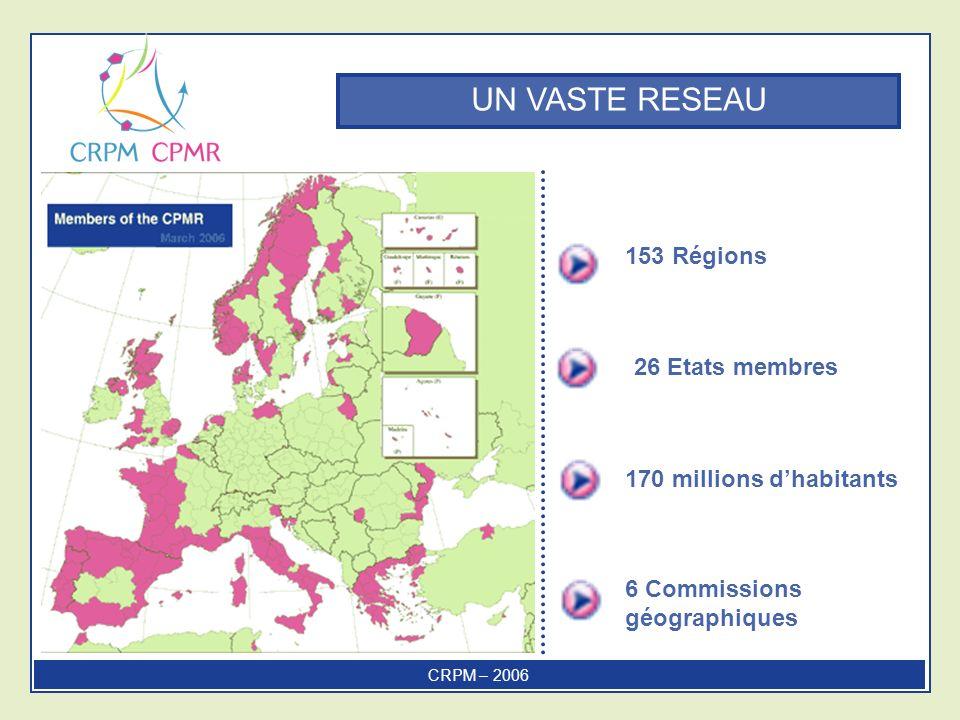 UN VASTE RESEAU 153 Régions 6 Commissions géographiques 170 millions dhabitants 26 Etats membres CRPM – 2006