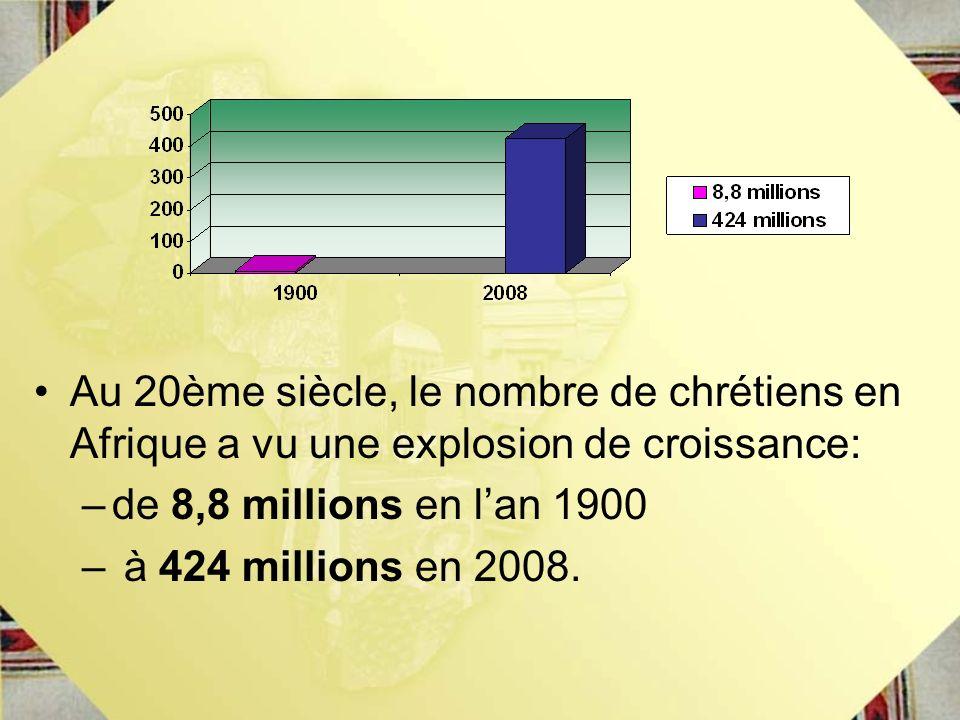 Au 20ème siècle, le nombre de chrétiens en Afrique a vu une explosion de croissance: –de 8,8 millions en lan 1900 – à 424 millions en 2008.