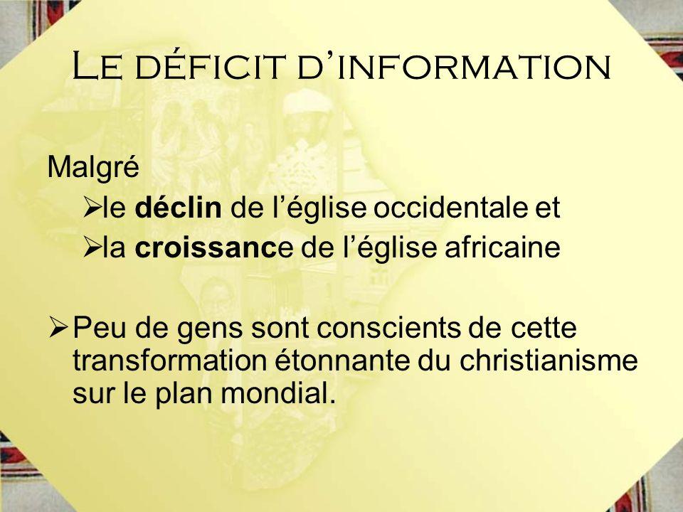 Le déficit dinformation Malgré le déclin de léglise occidentale et la croissance de léglise africaine Peu de gens sont conscients de cette transformat