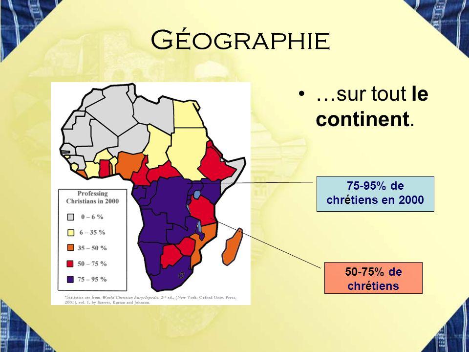 …sur tout le continent. 75-95% de chrétiens en 2000 50-75% de chrétiens Géographie