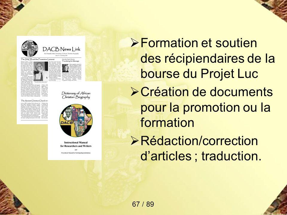 Formation et soutien des récipiendaires de la bourse du Projet Luc Création de documents pour la promotion ou la formation Rédaction/correction dartic