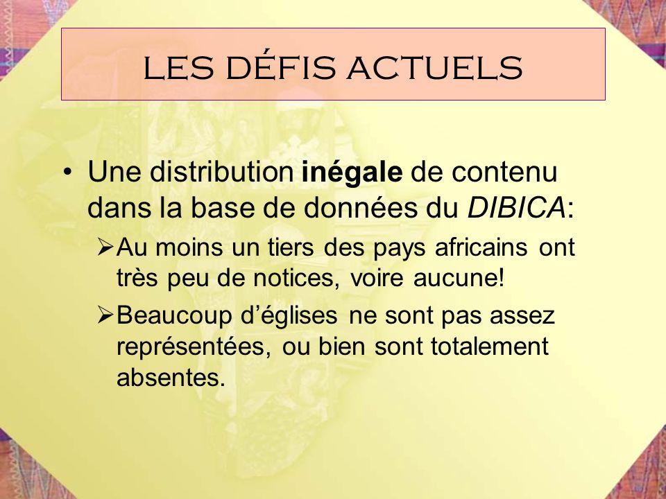 les défis actuels Une distribution inégale de contenu dans la base de données du DIBICA: Au moins un tiers des pays africains ont très peu de notices,