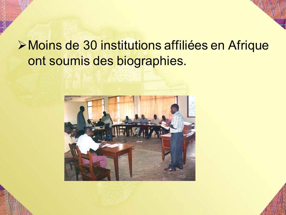 Moins de 30 institutions affiliées en Afrique ont soumis des biographies.