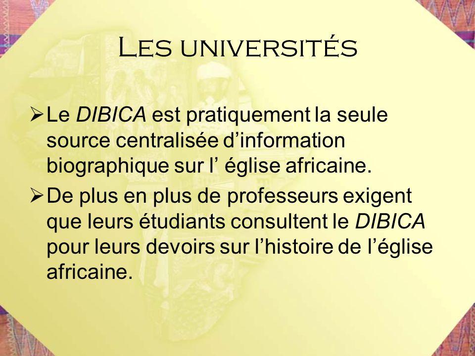 Le DIBICA est pratiquement la seule source centralisée dinformation biographique sur l église africaine. De plus en plus de professeurs exigent que le