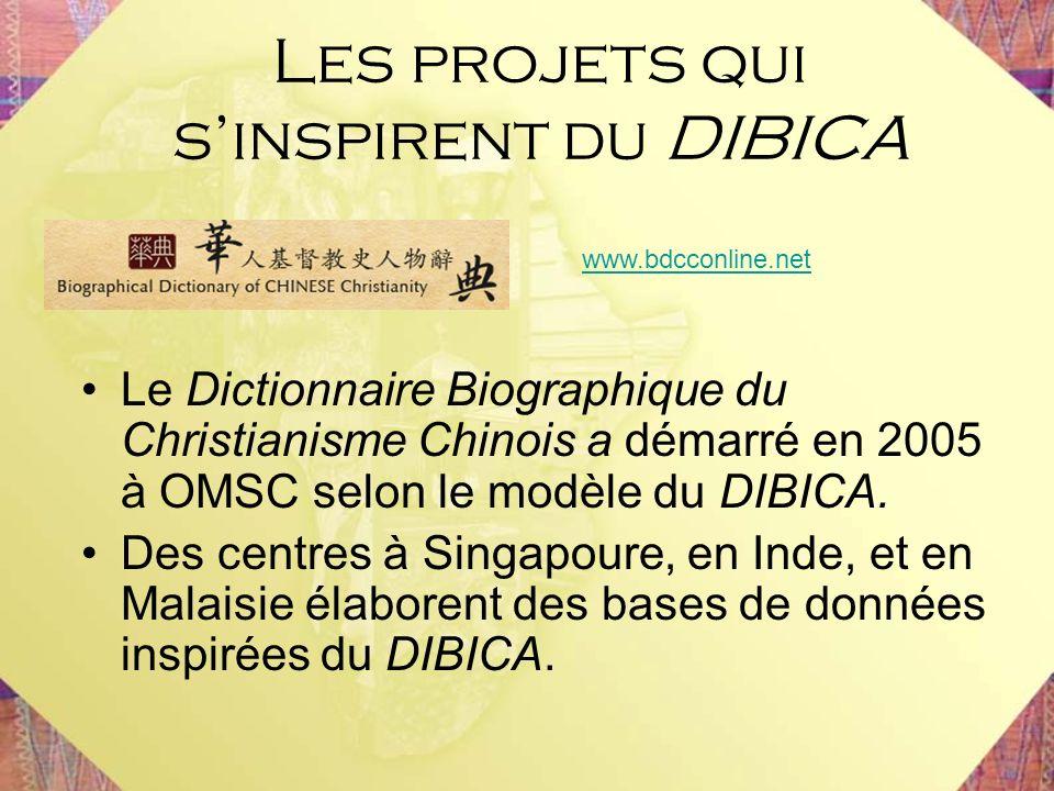 Le Dictionnaire Biographique du Christianisme Chinois a démarré en 2005 à OMSC selon le modèle du DIBICA. Des centres à Singapoure, en Inde, et en Mal