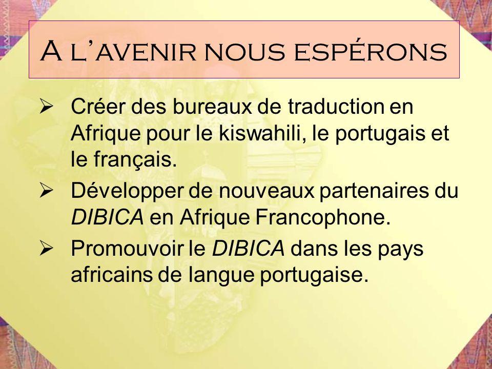 Créer des bureaux de traduction en Afrique pour le kiswahili, le portugais et le français. Développer de nouveaux partenaires du DIBICA en Afrique Fra