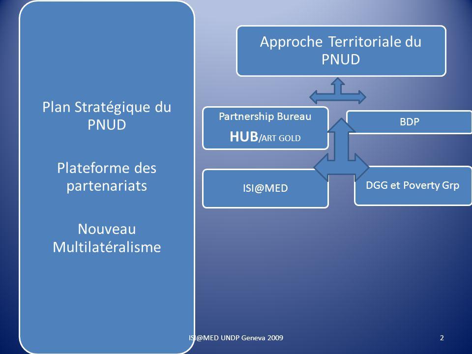 Plan Stratégique du PNUD Plateforme des partenariats Nouveau Multilatéralisme Approche Territoriale du PNUD Partnership Bureau HUB /ART GOLD ISI@MED BDP DGG et Poverty Grp 2ISI@MED UNDP Geneva 2009
