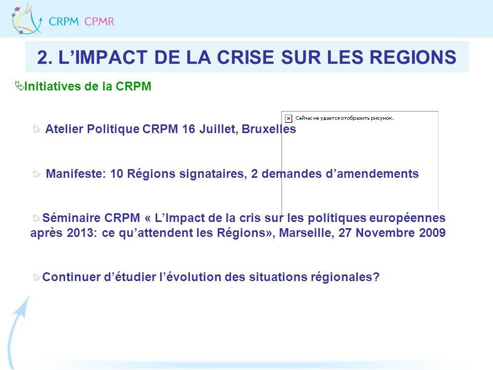 2. LIMPACT DE LA CRISE SUR LES REGIONS Atelier Politique CRPM 16 Juillet, Bruxelles Manifeste: 10 Régions signataires, 2 demandes damendements Séminai